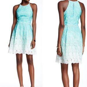 Adelyn Rae ombré lace fit flare tie dye dress